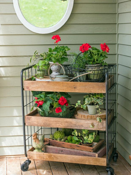 rolling cart with flower on a front porch