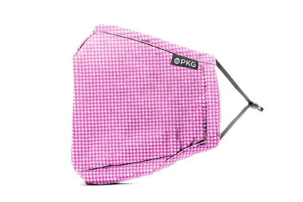 KIDS PINK CHECKER - PERSONAL ETIQUETTE MASK (2 pack w/ 2 filters)