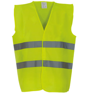 YOKO Hi-vis 2-band waistcoat with one colour Logo front & back
