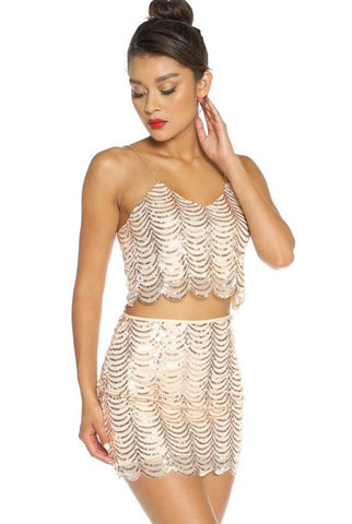 Golden Rush Sequined Two-piece Dress