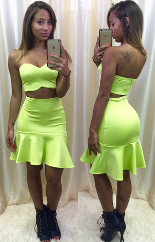 Key Lime Ruffle Two-Piece Dress- FINAL SALE