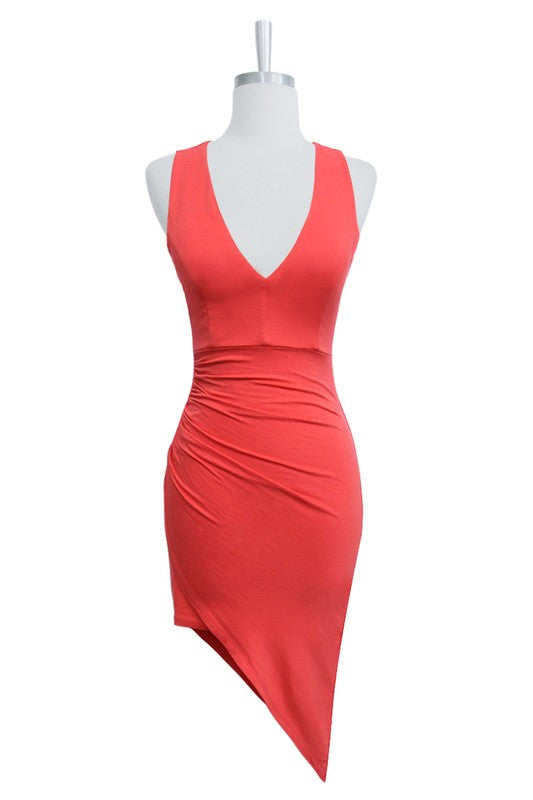 Asymmetric Coral Wrap Dress - Coral - FINAL SALE