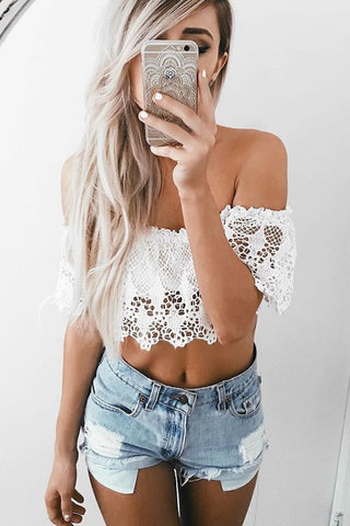 Flora and Fauna White Crop Top- FINAL SALE