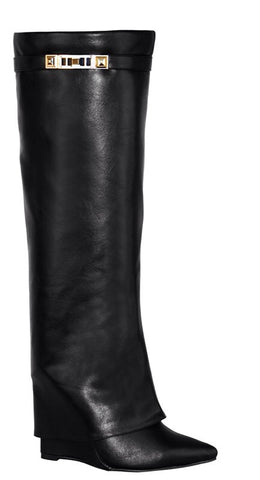 Shark Lock Folded Wedge Boots- FINAL SALE