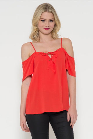 Off Shoulder Lace Up Top- FINAL SALE