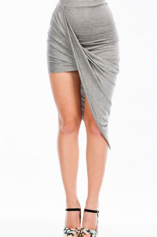 Twisted Unbalanced Skirt - Grey - Final Sale
