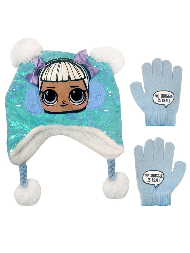 Girls LOL Surprise! Knit Beanie Hat Gloves Snuggle Is Real 2-Piece Set
