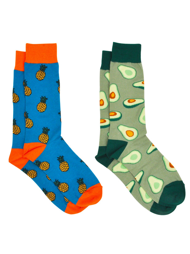Men's Pineapple Tropical Socks & All-Over Print Avocado Dress Socks 2-Pair Set