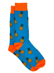 Men's Pineapple Tropical Socks Size 10-13 Turquoise Orange