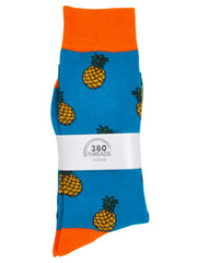 Men's Pineapple Tropical Socks & Breakfast Foods Novelty Dress Socks 2-Pair Set