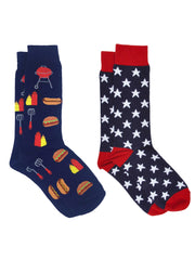 Men's Patriotic USA America Socks Stars & BBQ Grill Hamburger Socks 2-Pair Set