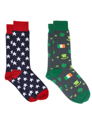 Men's Patriotic USA America Stars Socks & St Patricks Day Irish Socks 2-Pair Set