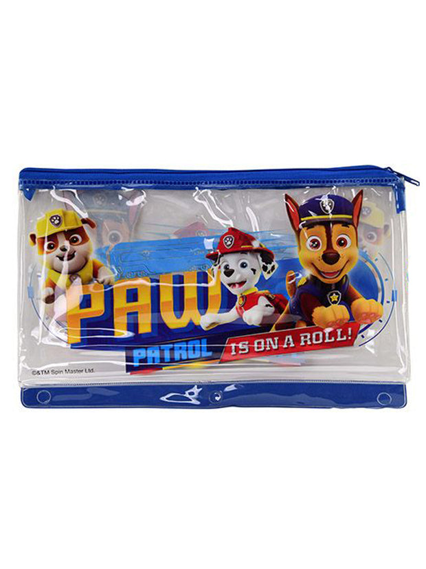 Boys Paw Patrol Chase Marshall On A Roll 3-Ring Large Zipper Pencil Pouch Case