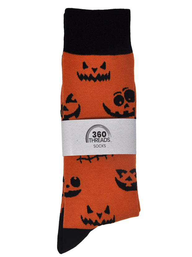 Men's Jack o' Lantern Halloween Pumpkin Socks All-Over Size 10-13 Orange