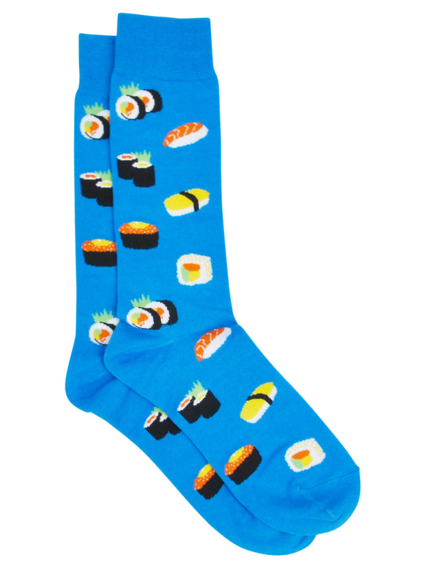 Men's Best Dad Ever Socks Grey and Sushi Rolls & Sashimi Socks All-Over Blue