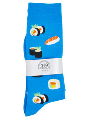 Men's Sushi & Sashimi Socks All-Over Size 10-13 Blue