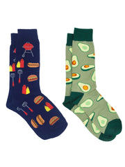 Men's Avocados Foodie Dress Socks & BBQ Grill Hot Dogs Hamburger Socks 2-Pairs