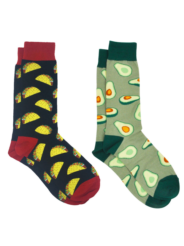 Men's Avocados Novelty Dress Socks Green & All-Over Taco Food Socks 2-Pair Set