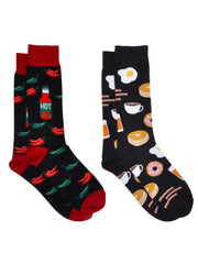 Men's Hot Sauce Peppers Socks & Breakfast Foods Eggs Bacon Socks 2-Pair Set