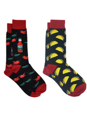 Men's Hot Sauce Chili Peppers Socks & All-Over Taco Food Dress Socks 2-Pair Set