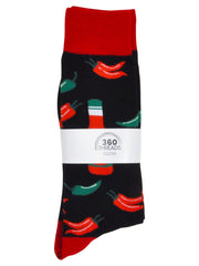 Men's Hot Sauce Chili Peppers Socks & BBQ Grill Hamburger Socks 2-Pair Set