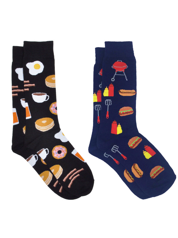 Men's Breakfast Foods Socks Eggs Bacon & BBQ Grill Hot Dog Socks 2-Pair Set