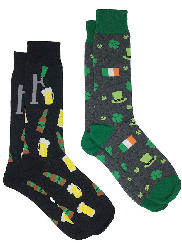 Men's St Patricks Day Irish Luck and Beer Tap w/ Mugs Socks 2-Pairs Black Gray