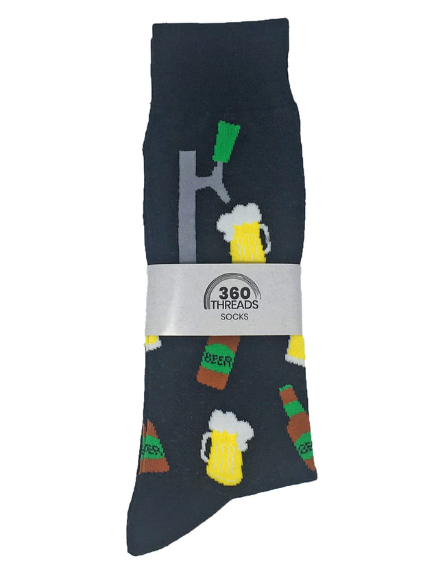 Men's Beer Tap and Mugs Socks Size 10-13 Black