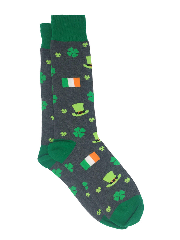 Men's St Patricks Day Socks Shamrocks Irish Flags Hats (3-Pairs)