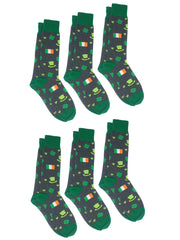 Men's St Patricks Day Socks Lucky Clovers Shamrocks Irish Flags Green (6 Pairs)