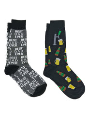 Men's Best Dad Ever Socks Grey and Beer Tap Bottles Mugs Beverage Socks Black
