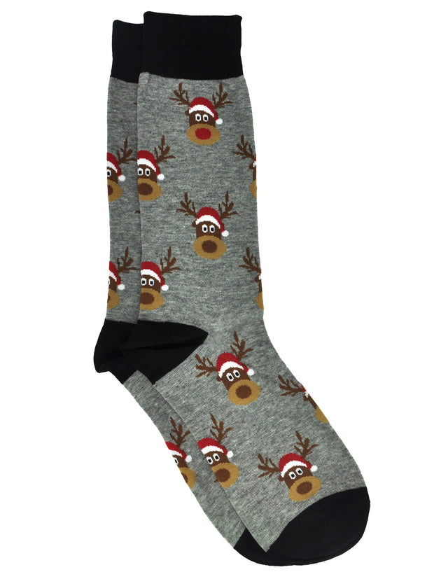 Men's Christmas Reindeer Socks Size 10-13 Grey Black