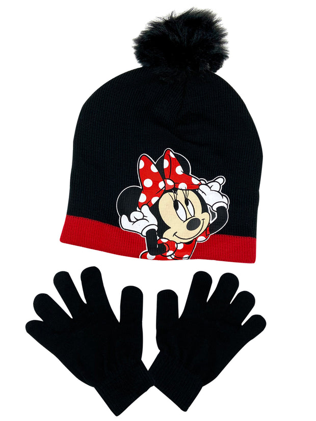 Disney Girls MInnie Mouse Hat Knit Beanie Pom Pom Gloves Black 2-Piece Set