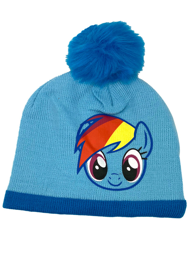 Girls My Little Pony Rainbow Dash Knit Beanie Hat Pom-Pom Gloves 2-Piece Set