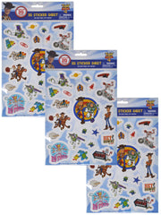 Boys Toy Story 3D Raised Stickers (20-CT) Woody Buzz Lightyear 3-Piece Set