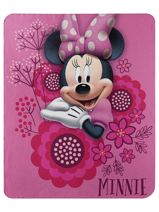 "Disney Minnie Mouse Fleece Throw Blanket So Many Bows 45"" x 60"" Pink"