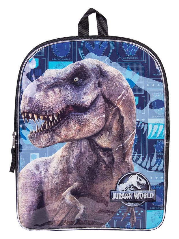 "Jurassic World Boys Tyrannosaurus Rex Large 15"" Backpack Blue Black"