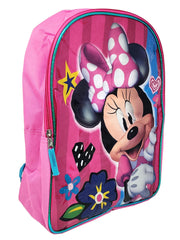 "Minnie Mouse 15"" Glossy Smile Backpack w/ 12oz Water Bottle Shoulder Strap Set"