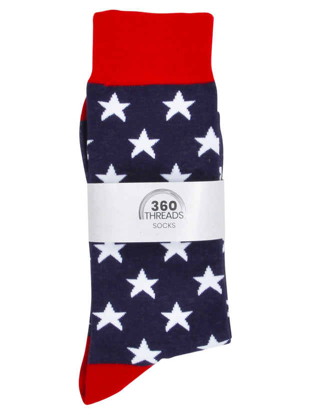 Men's Patriotic USA America Socks Size 10-13 Stars Navy Blue