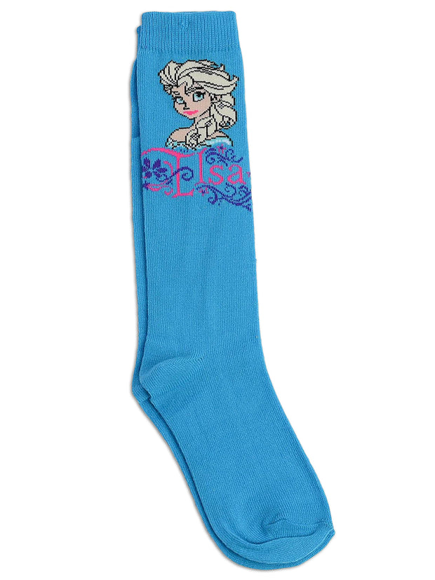 Girls Frozen Elsa Anna Socks Size 6-8.5 Age 4-7 Knee High (4-Pairs)