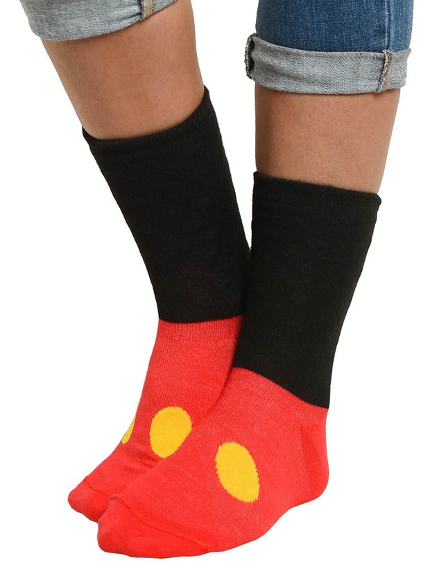 Women's Mickey Minnie Mouse Crew Socks 2-Pair Set Reversible