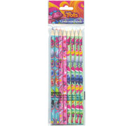 Trolls Characters Girls Pencils 8-PACK & Adhesive Patch Sticker 2-PK School Supplies