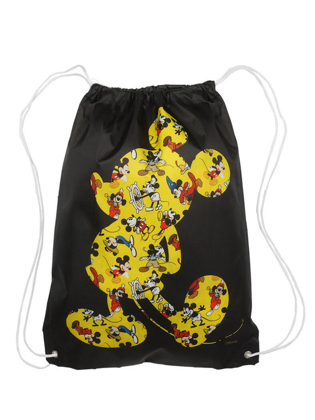 "Disney Mickey Mouse Black 18"" Drawstring Bag w/ Mickey Pluto Rain Poncho Set"