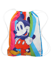 Boys Disney Mickey Mouse Youth Rain Poncho & Drawstring Sling Bag Stripes Set
