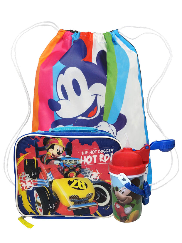 Disney Mickey Mouse Sling Bag w/ Insulated Lunch Bag & 12oz Water Bottle Set