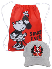 "Disney Minnie Mouse 18"" Non-Woven Sling Bag w/ Mom Minnie Baseball Cap Hat Gray"