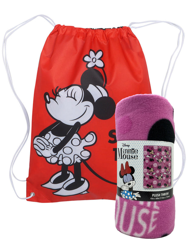 "Disney Minnie Mouse Fleece Throw Blanket 45"" x 60"" w/ Sling Bag Set"