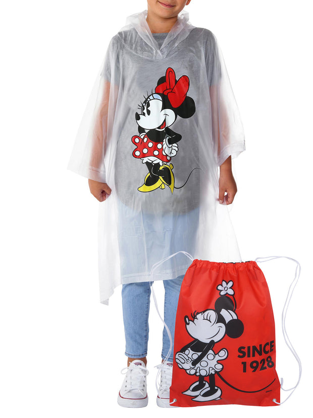 Disney Minnie Mouse Youth Rain Poncho Waterproof & Drawstring Sling Bag Retro