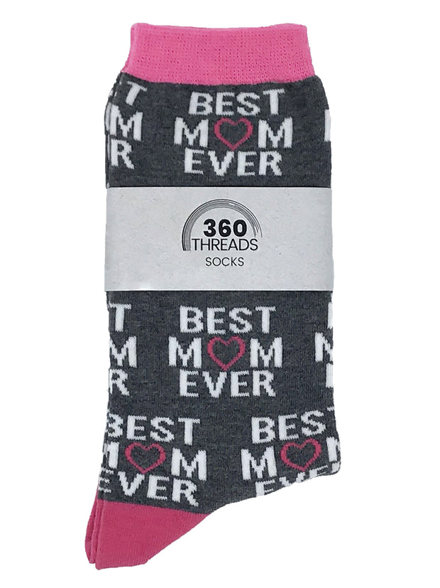 Women's Best Mom Ever Fun Socks & Avocados All-Over Food Novelty Socks - 2 Pairs