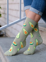 Women's Avocado Socks Novelty All-Over Print Foodie Crew Green